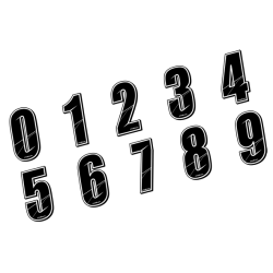 Stickers Numéros de plaque - BLACK 5 CM