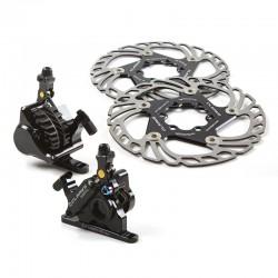 Kit étriers+disques de frein hybride Clarks Flat mount Noir